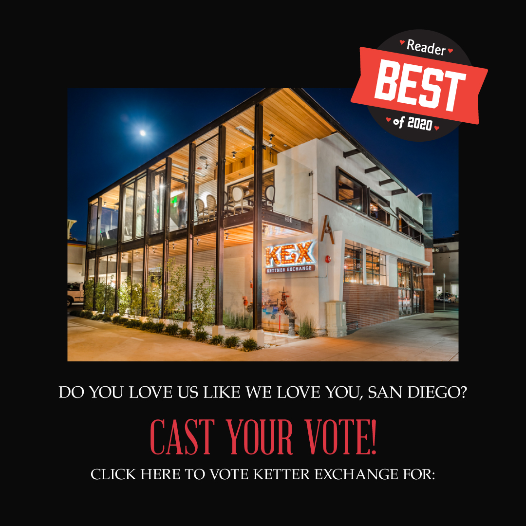 Vote Kettner Exchange for Best Restaurant, Best Outdoor Patio, and Best Chef