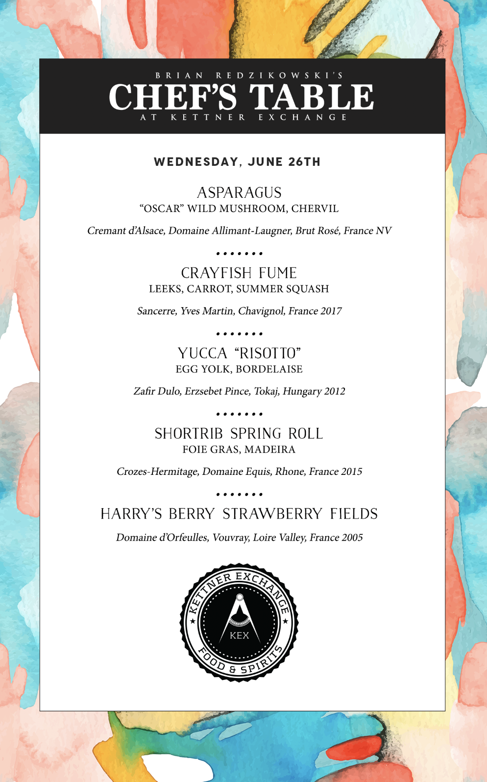 June 26th Chef's Table flyer
