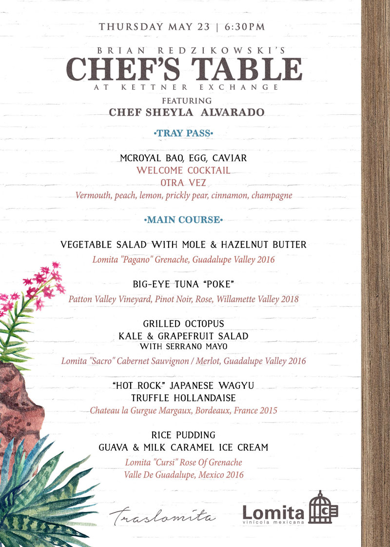 Rooftop Chef's Table Featuring Chef Sheyla Alvarado Alongside Executive Chef Brian Redzikowski | May 23 @ 6:30 pm - 10:30 pm